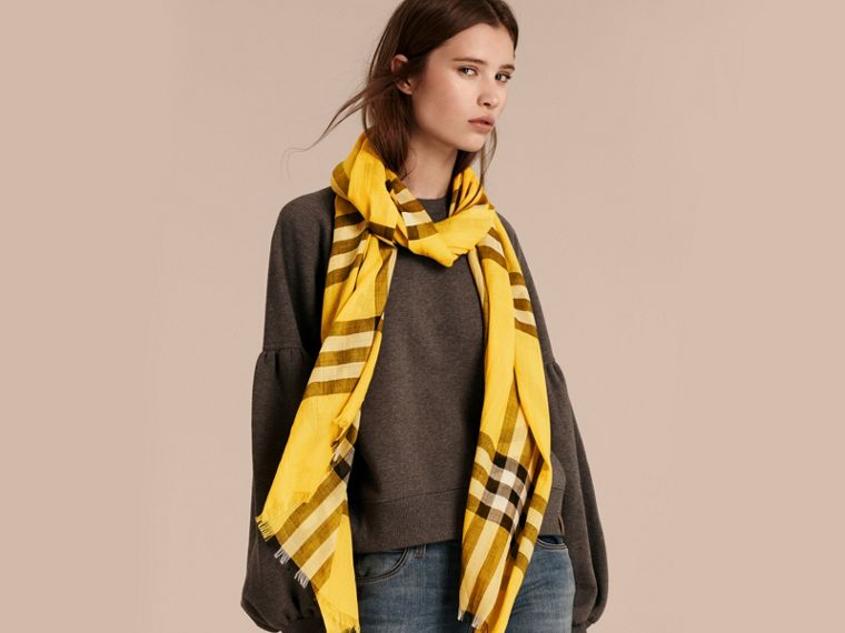 Lightweight Check Wool and Silk Scarf in Gorse Yellow - cell image 1