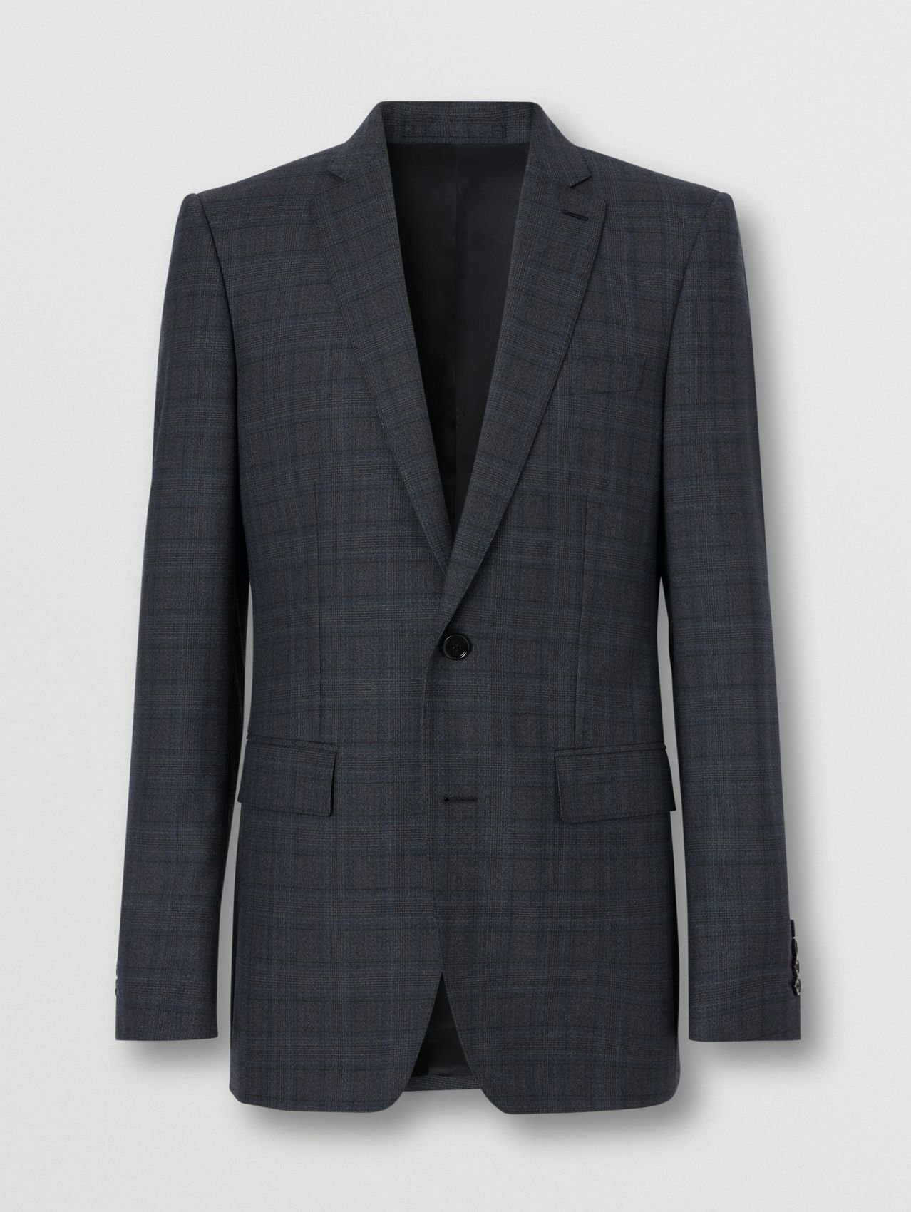 English Fit Check Wool Suit in Steel Blue
