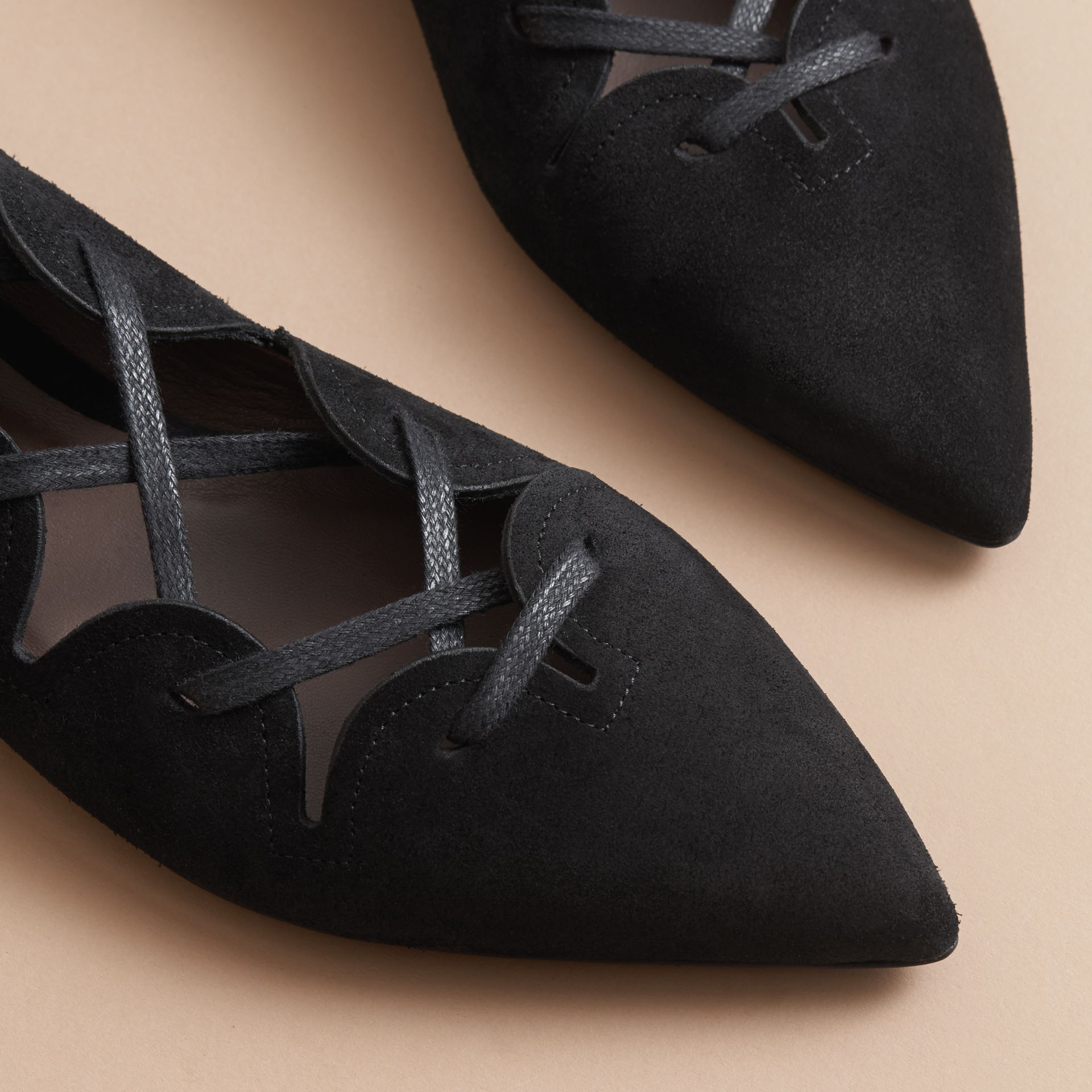 Scalloped Suede Lace-up Ballerinas in Black - Women | Burberry - gallery image 4