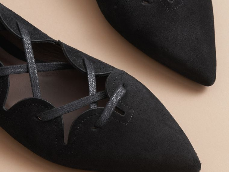 Scalloped Suede Lace-up Ballerinas in Black - Women | Burberry United States - cell image 4