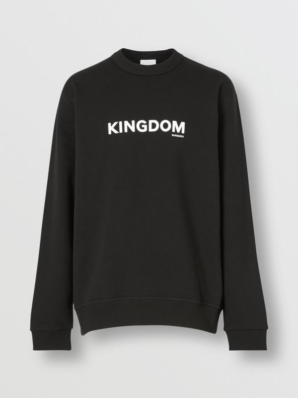 Kingdom Print Cotton Sweatshirt in Black - Men | Burberry - cell image 3