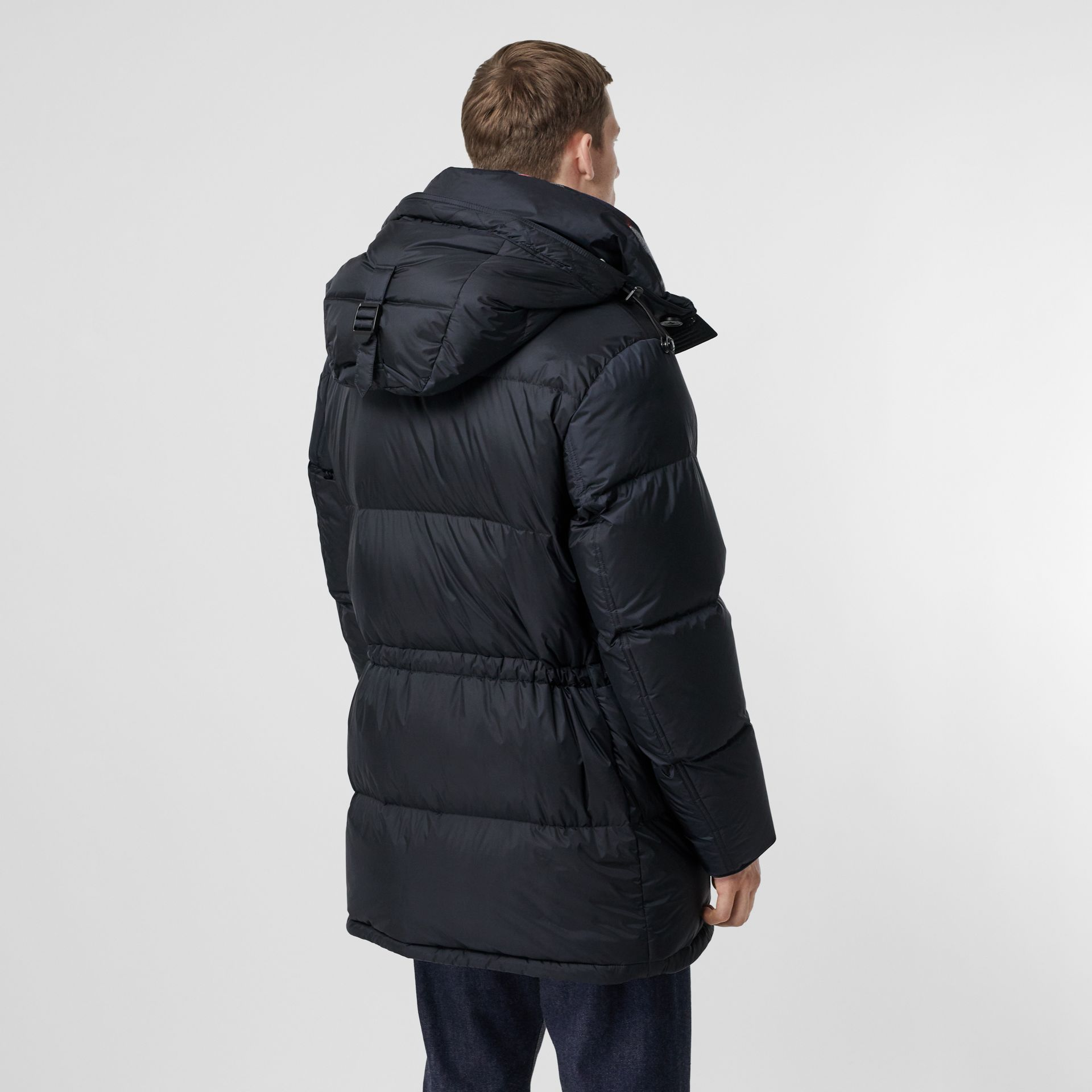 Logo Detail Hooded Puffer Coat in Navy - Men | Burberry - gallery image 2