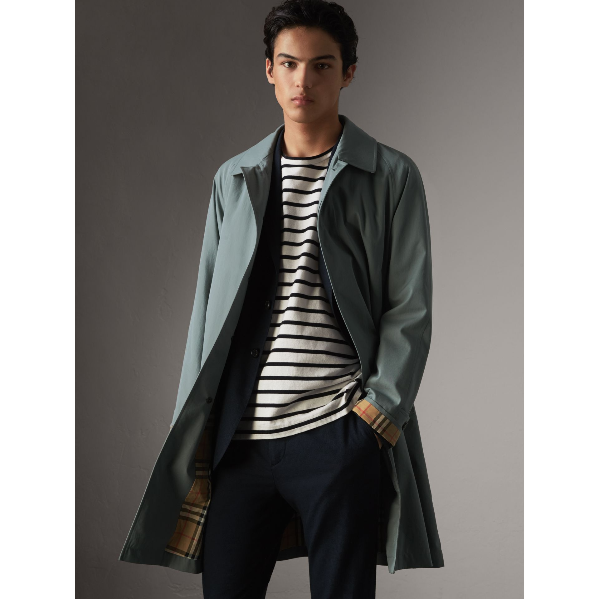 The Camden – Long Car Coat in Dusty Blue - Men | Burberry Australia - gallery image 5