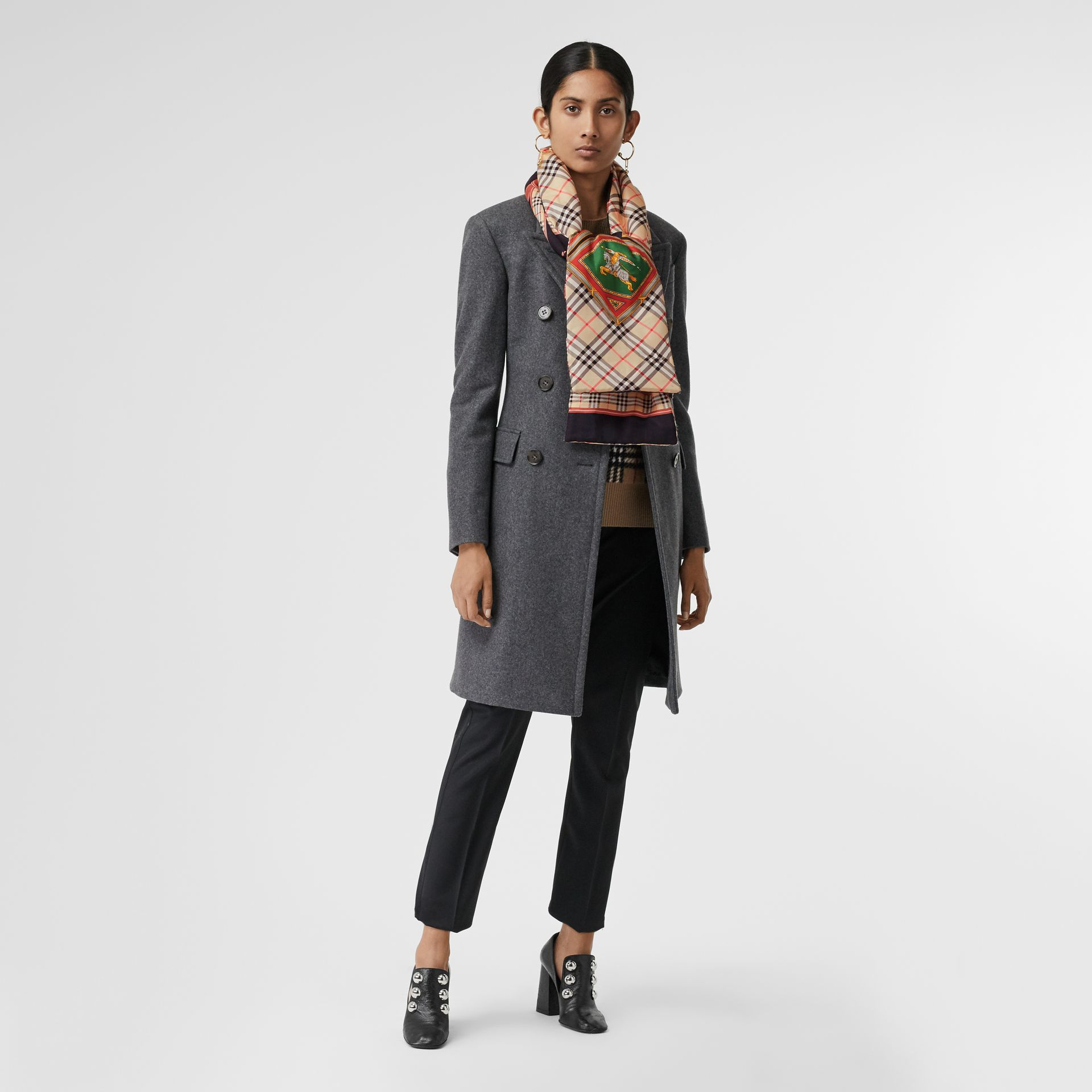 Archive Scarf Print Silk Puffer Scarf in Multicolour | Burberry Singapore - gallery image 2