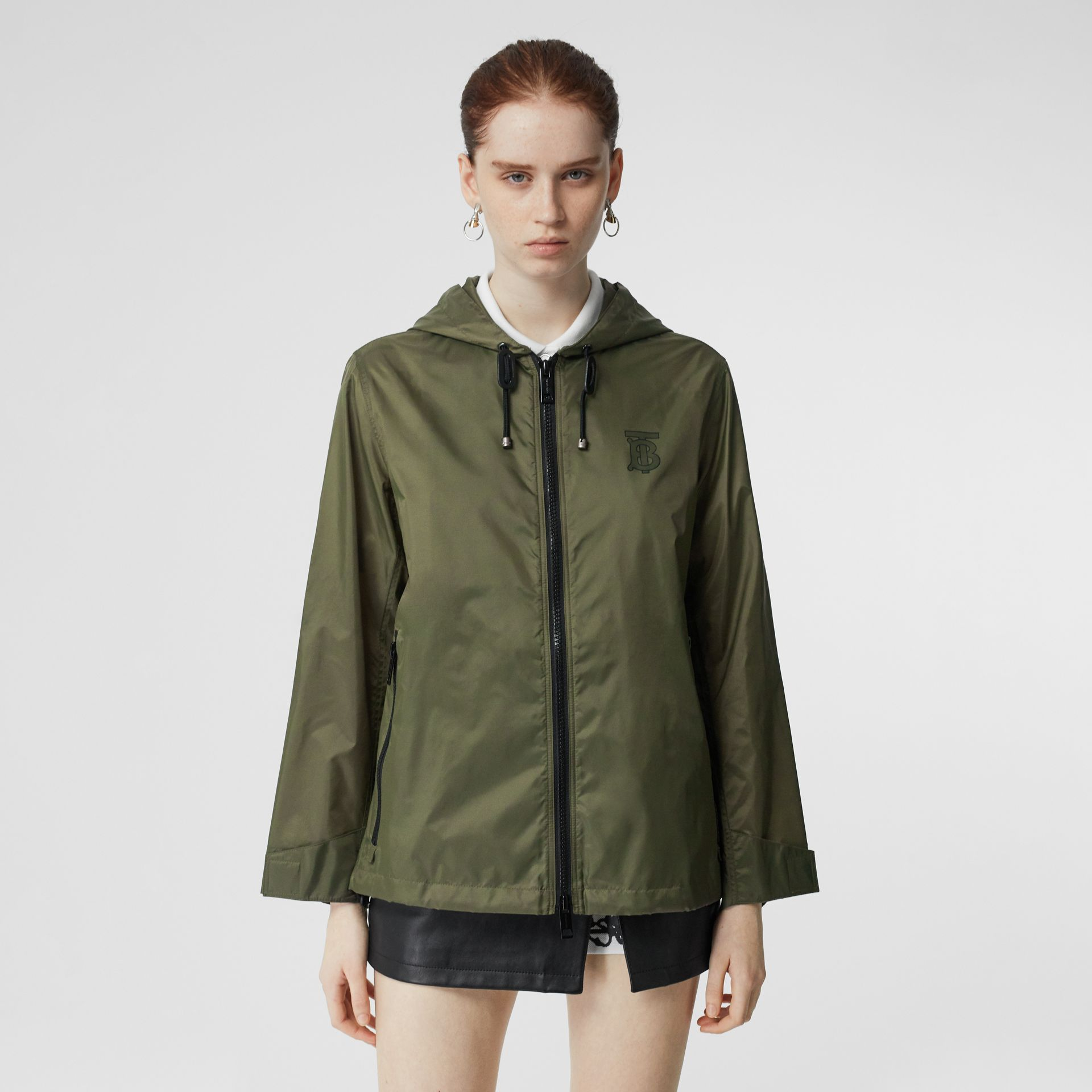 Monogram Motif Lightweight Hooded Jacket in Light Olive - Women | Burberry United States - gallery image 0