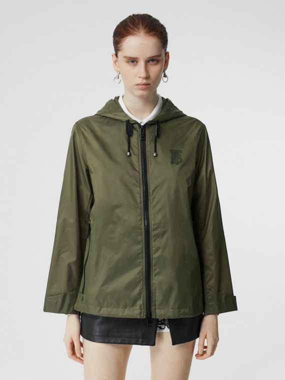 Monogram Motif Lightweight Hooded Jacket in Light Olive