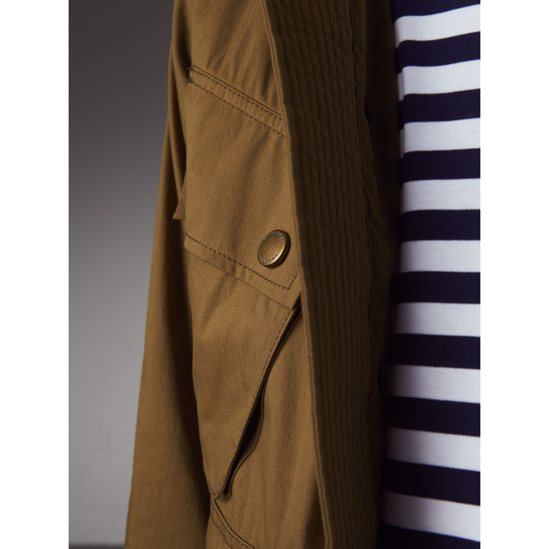 Technical Cotton Canvas Field Jacket in Military Khaki - Men | Burberry - gallery image 2