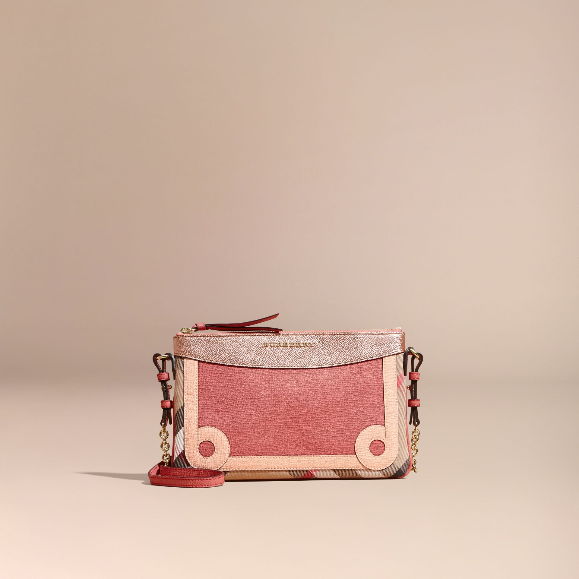 House Check and Leather Clutch Bag in Copper Pink - gallery image 9