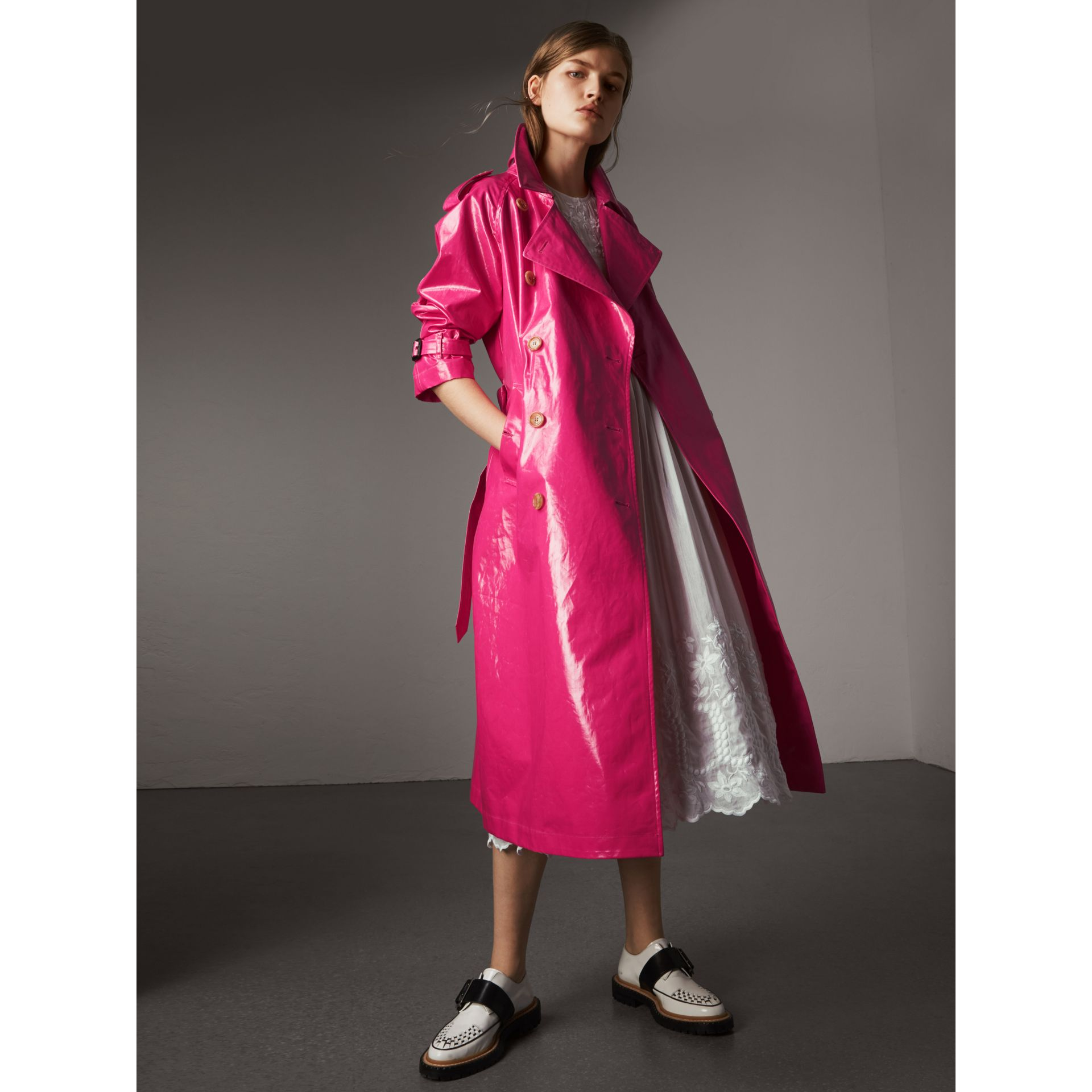 Laminated Cotton Trench Coat in Neon Pink - Women | Burberry - gallery image 0