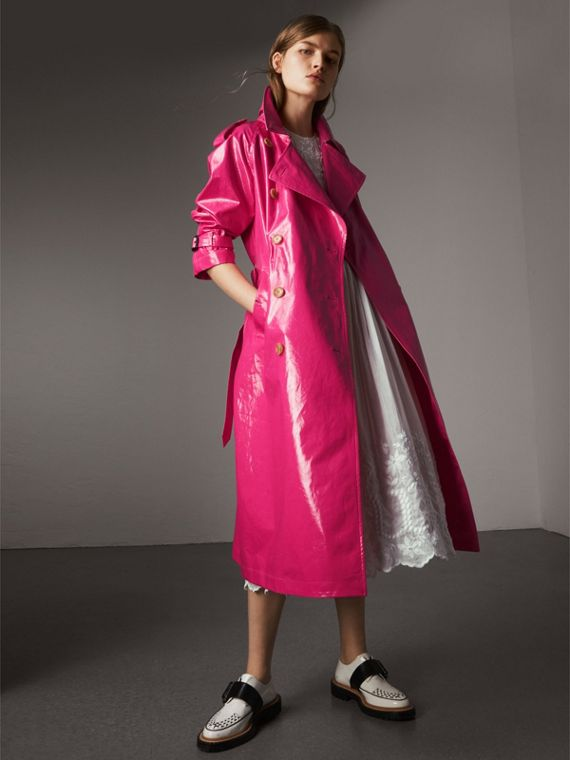Laminated Cotton Trench Coat in Neon Pink