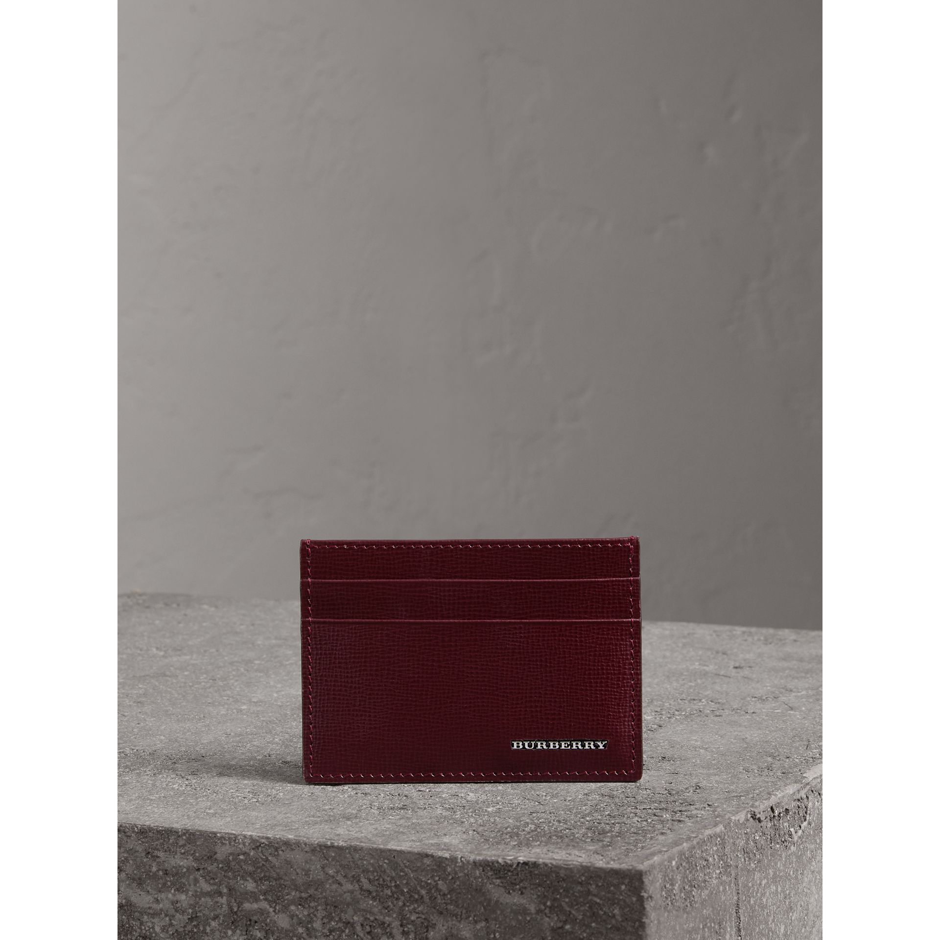 London Leather Card Case in Burgundy Red - Men | Burberry United Kingdom - gallery image 3