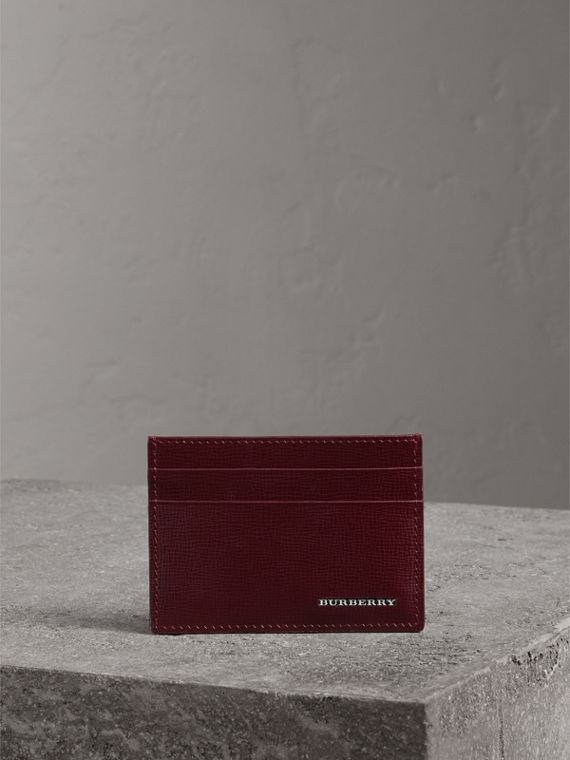 London Leather Card Case in Burgundy Red - Men | Burberry Singapore - cell image 3