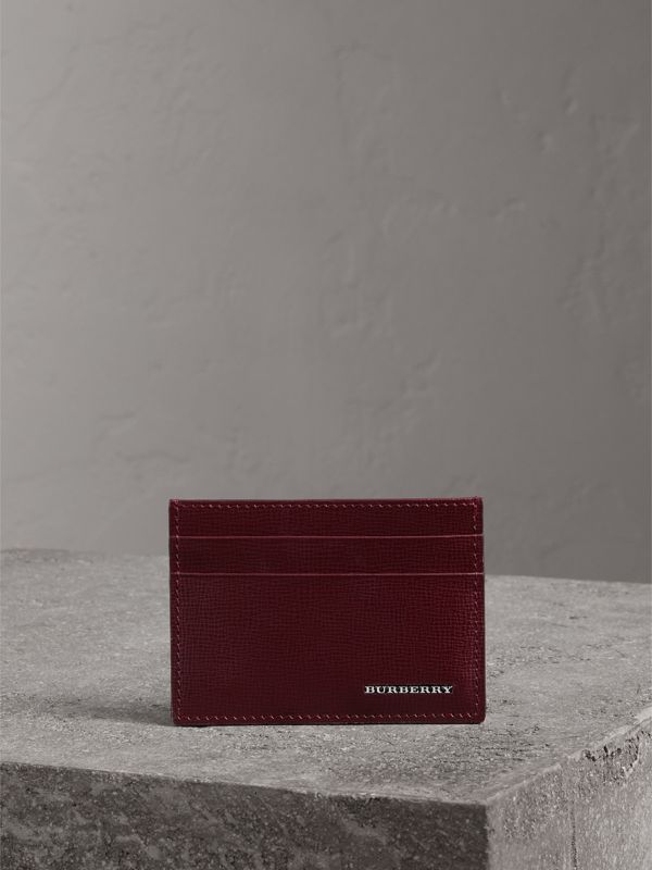 London Leather Card Case in Burgundy Red - Men | Burberry - cell image 3