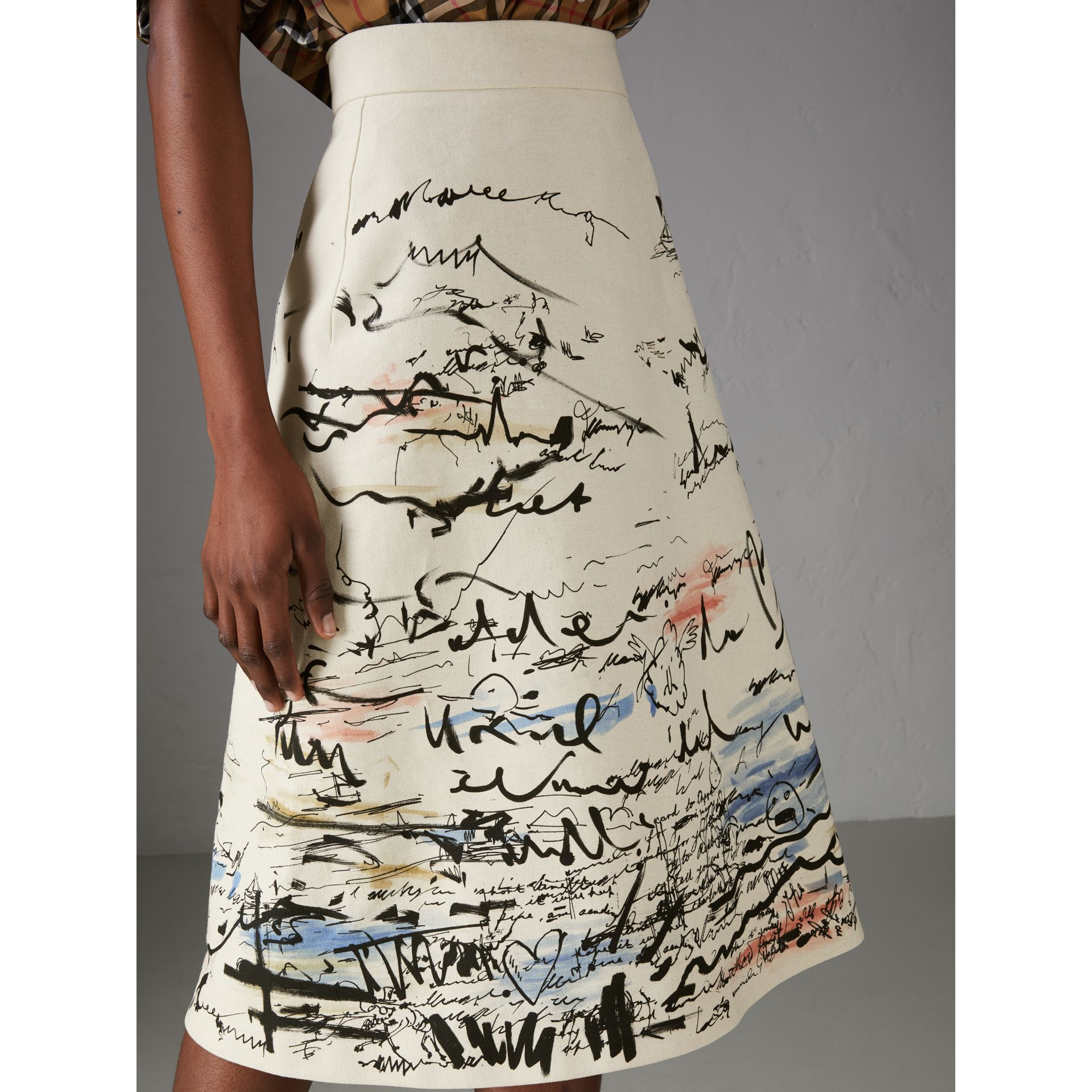 Coastal Print Cotton Linen A-line Skirt in Natural White - Women | Burberry - gallery image 1