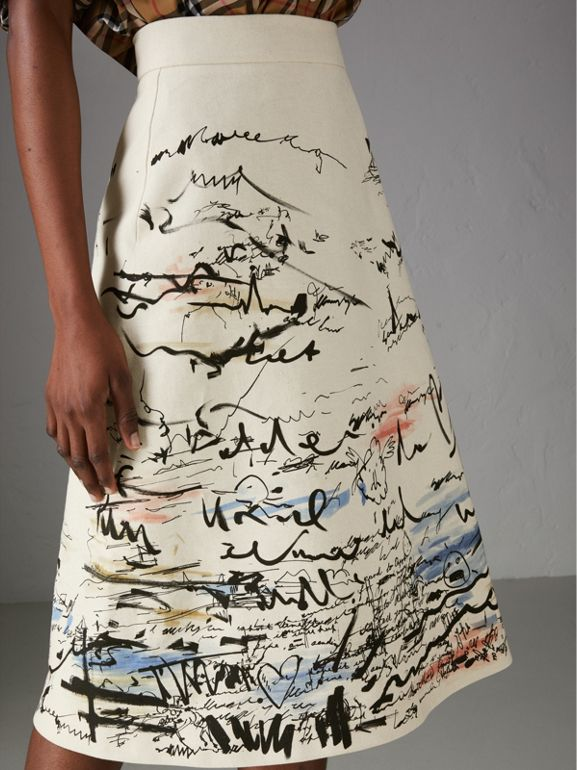 Coastal Print Cotton Linen A-line Skirt in Natural White - Women | Burberry - cell image 1