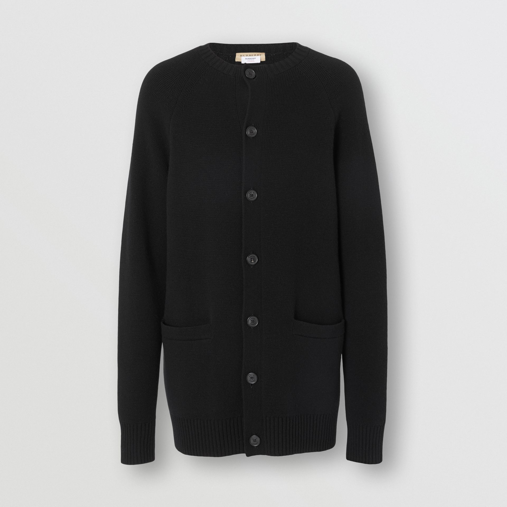 Cashmere Crew Neck Cardigan in Black | Burberry Singapore - gallery image 3