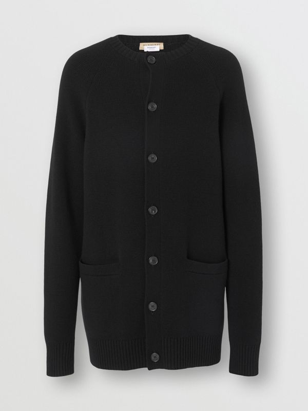 Cashmere Crew Neck Cardigan in Black | Burberry Singapore - cell image 3