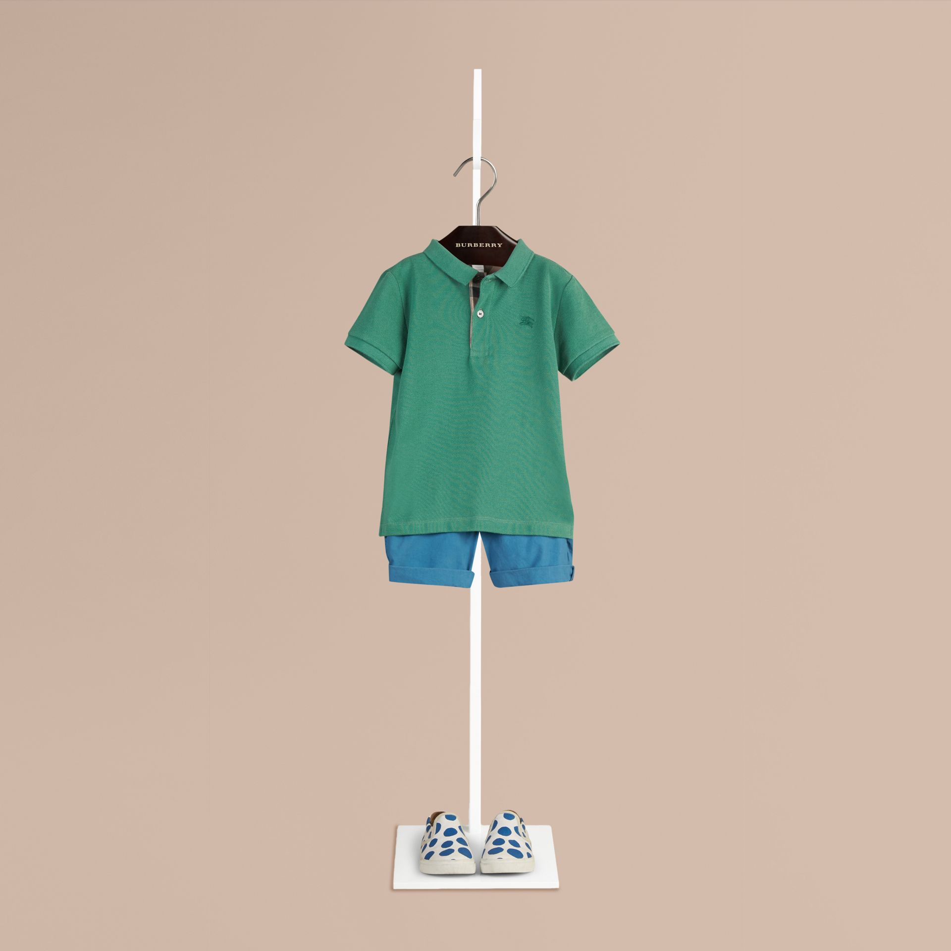 Storm green Check Placket Polo Shirt Storm Green - gallery image 1