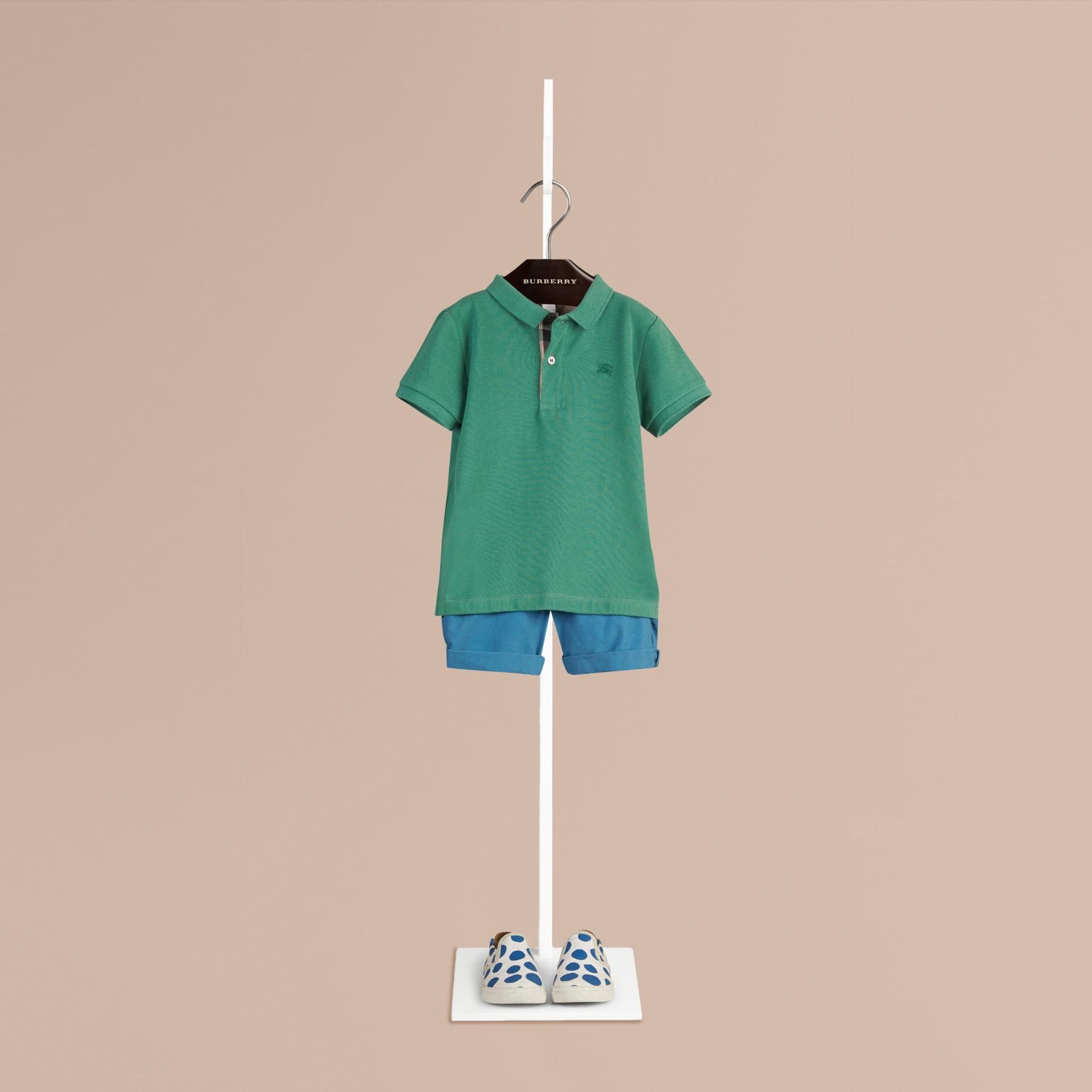 Storm green Camisa polo com tira de botões xadrez Storm Green - galeria de imagens 1