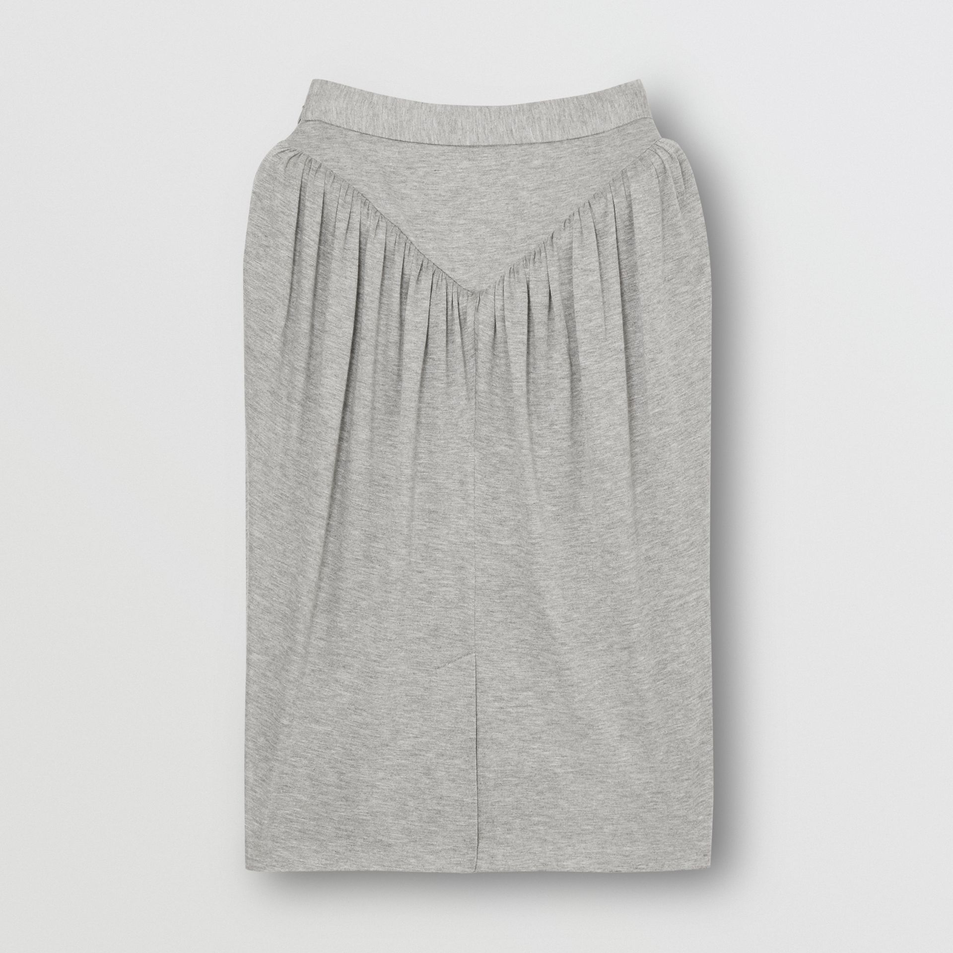 Gathered Jersey Sculptural Skirt in Pewter Melange - Women | Burberry - gallery image 3