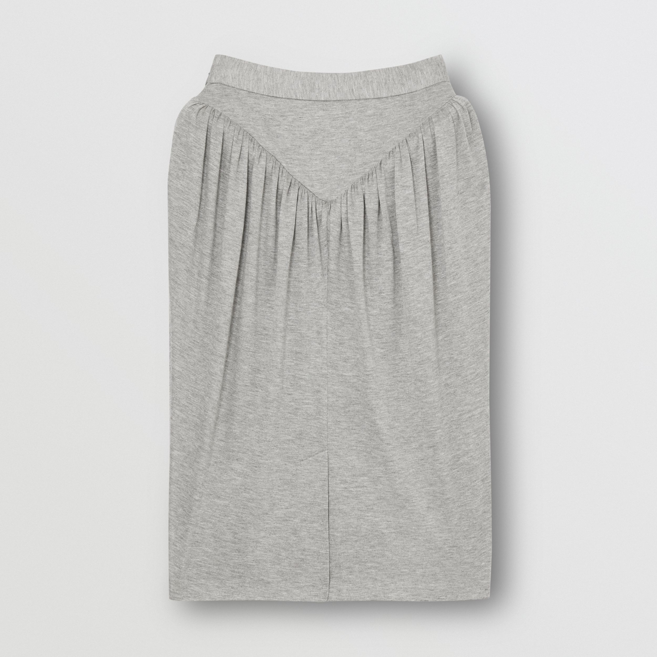Gathered Jersey Sculptural Skirt in Pewter Melange - Women | Burberry - 4