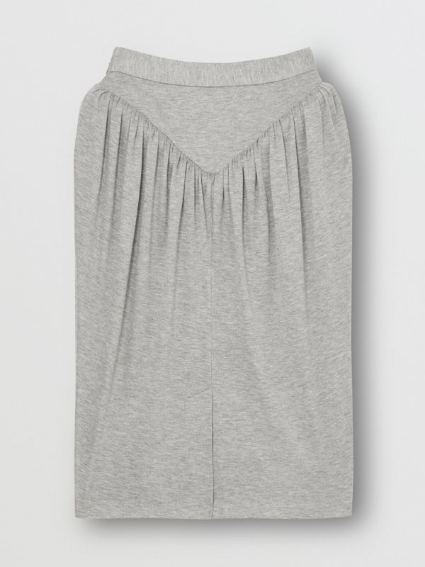 Gathered Jersey Sculptural Skirt in Pewter Melange - Women | Burberry United States - cell image 3