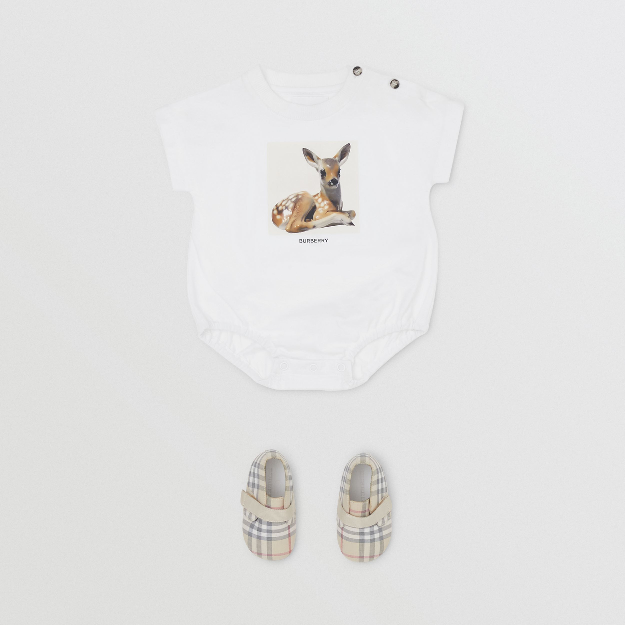 Deer Print Cotton Bodysuit in White - Children | Burberry - 3