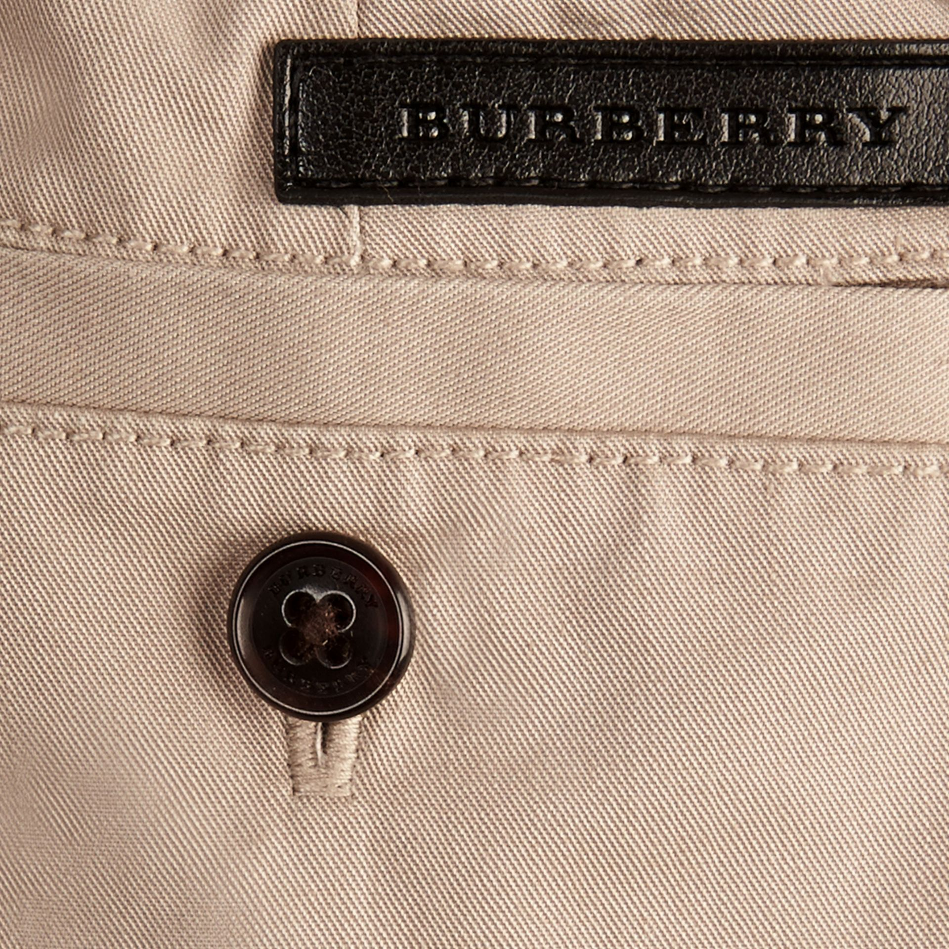 Taupe Check Detail Cotton Chino Shorts Taupe - gallery image 2