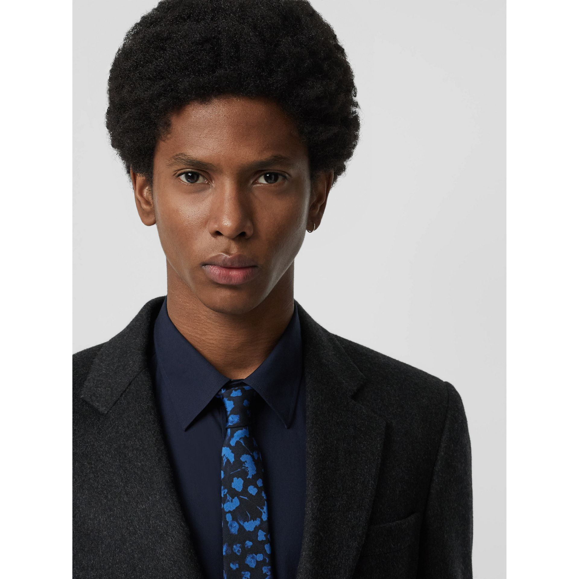 Slim Cut Floral Silk Jacquard Tie in Steel Blue - Men | Burberry - gallery image 2