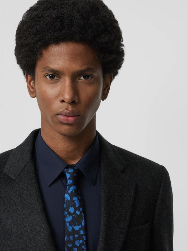 Slim Cut Floral Silk Jacquard Tie in Steel Blue - Men | Burberry - cell image 2