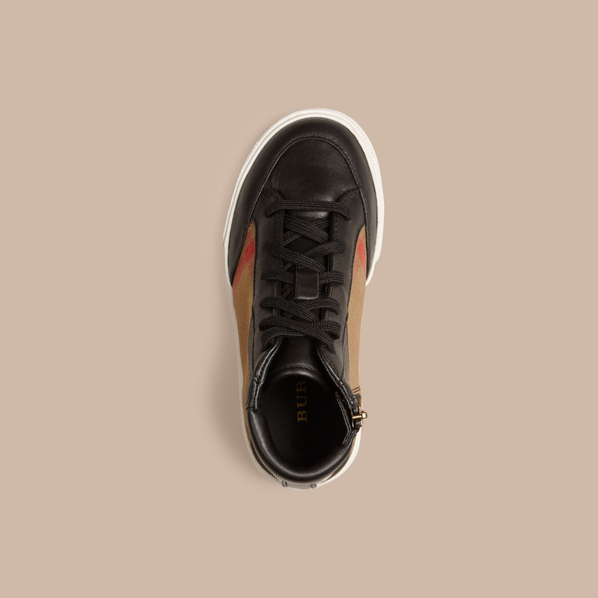 House Check and Leather High Top Trainers in Black | Burberry - gallery image 2