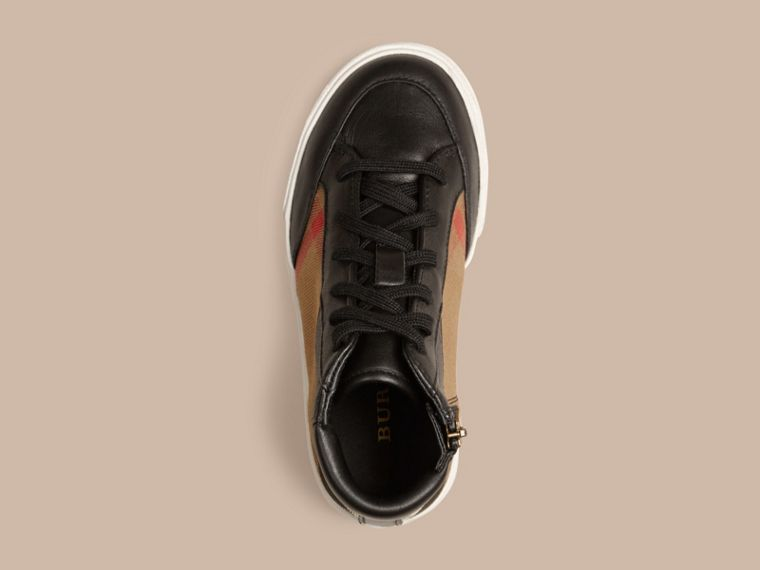House Check and Leather High Top Trainers in Black | Burberry - cell image 1