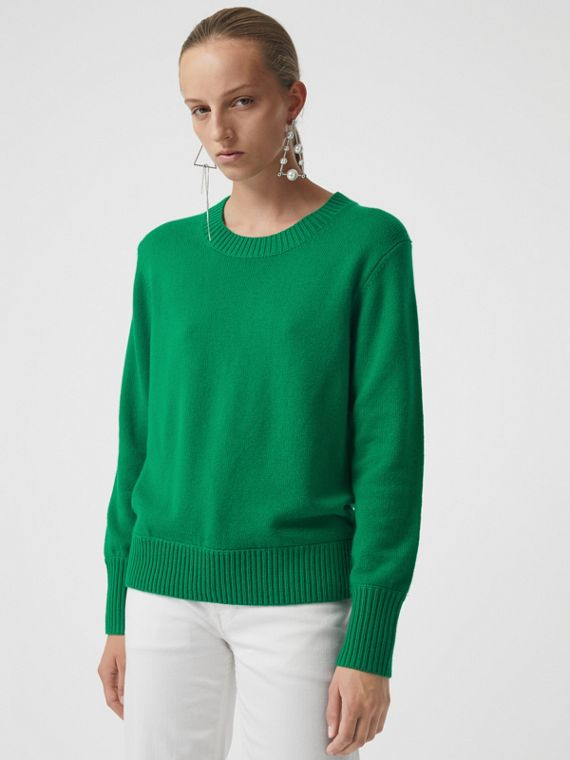 Archive Logo Appliqué Cashmere Sweater in Vibrant Green