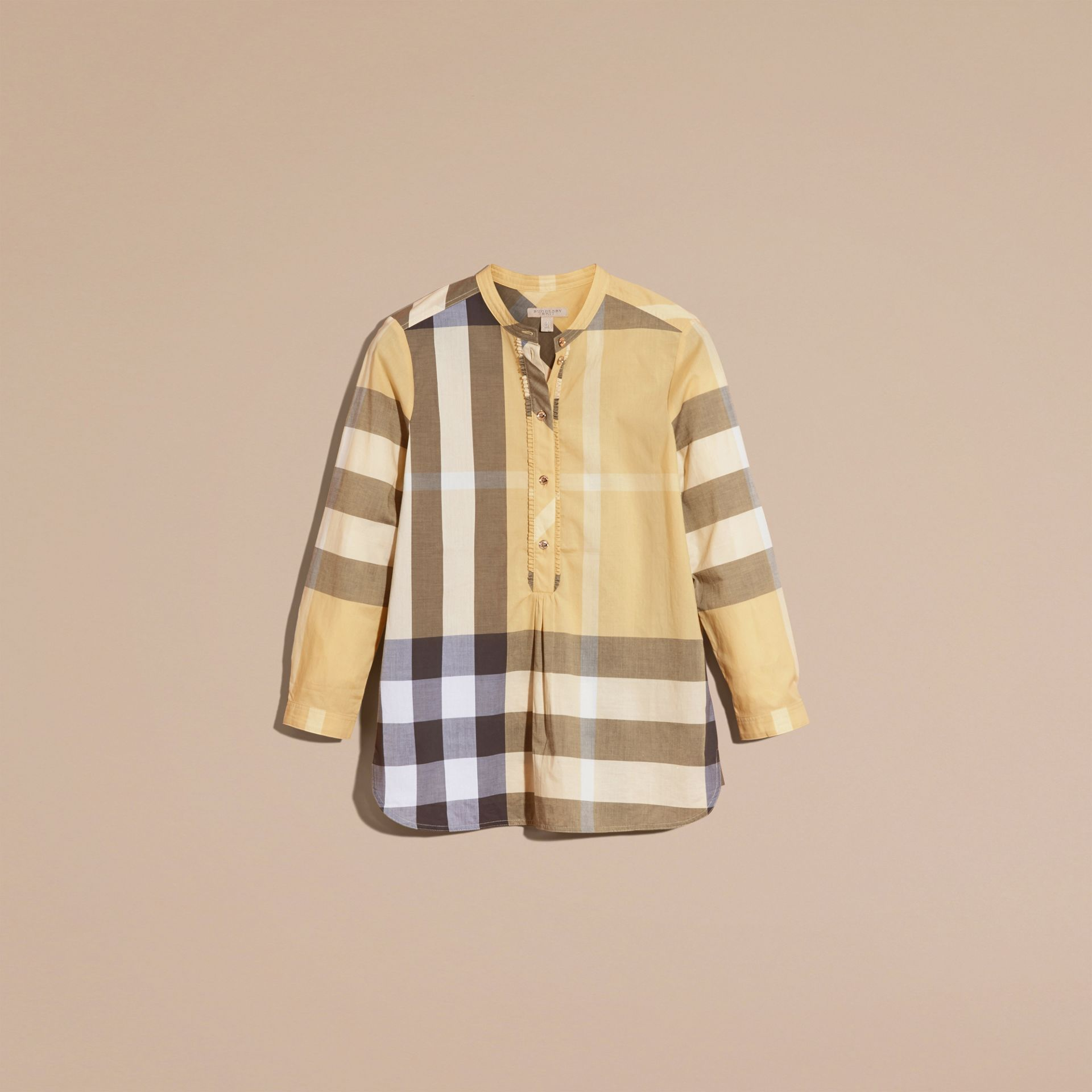 Camomile yellow Check Cotton Tunic Shirt - gallery image 4