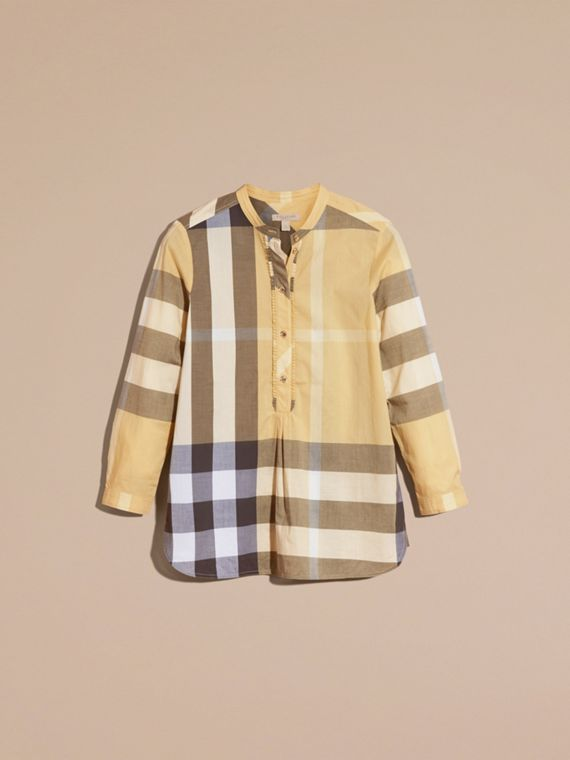 Camomile yellow Check Cotton Tunic Shirt - cell image 3