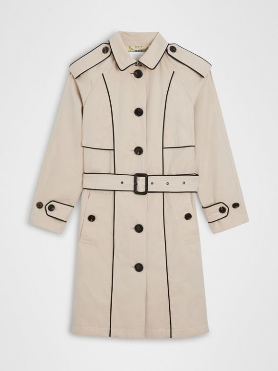Trench coat in gabardine tropicale con profili (Pietra)
