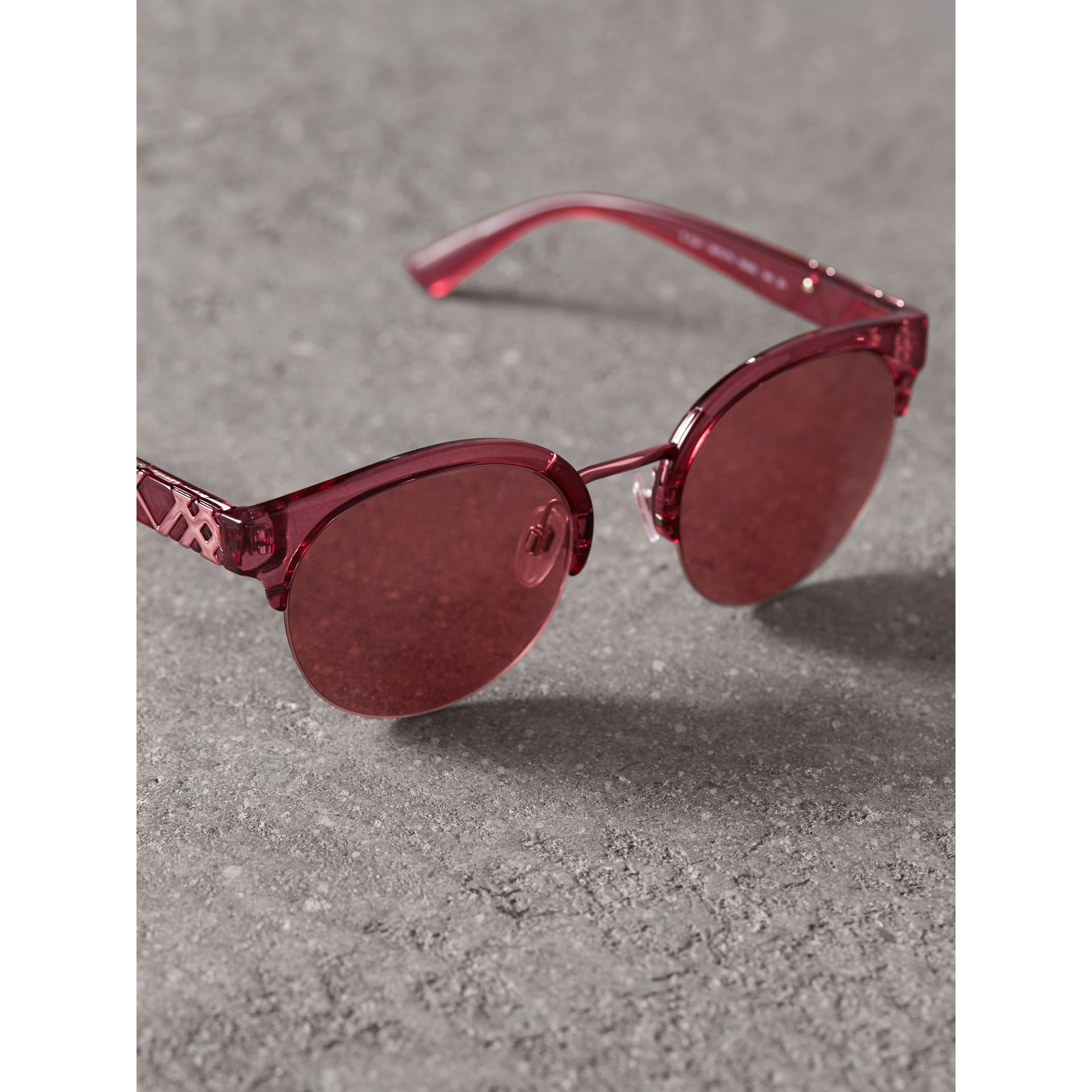 Check Detail Round Half-frame Sunglasses in Burgundy - Women | Burberry United States - gallery image 2