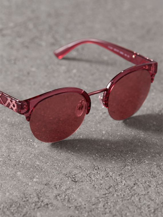 Check Detail Round Half-frame Sunglasses in Burgundy - Women | Burberry - cell image 2