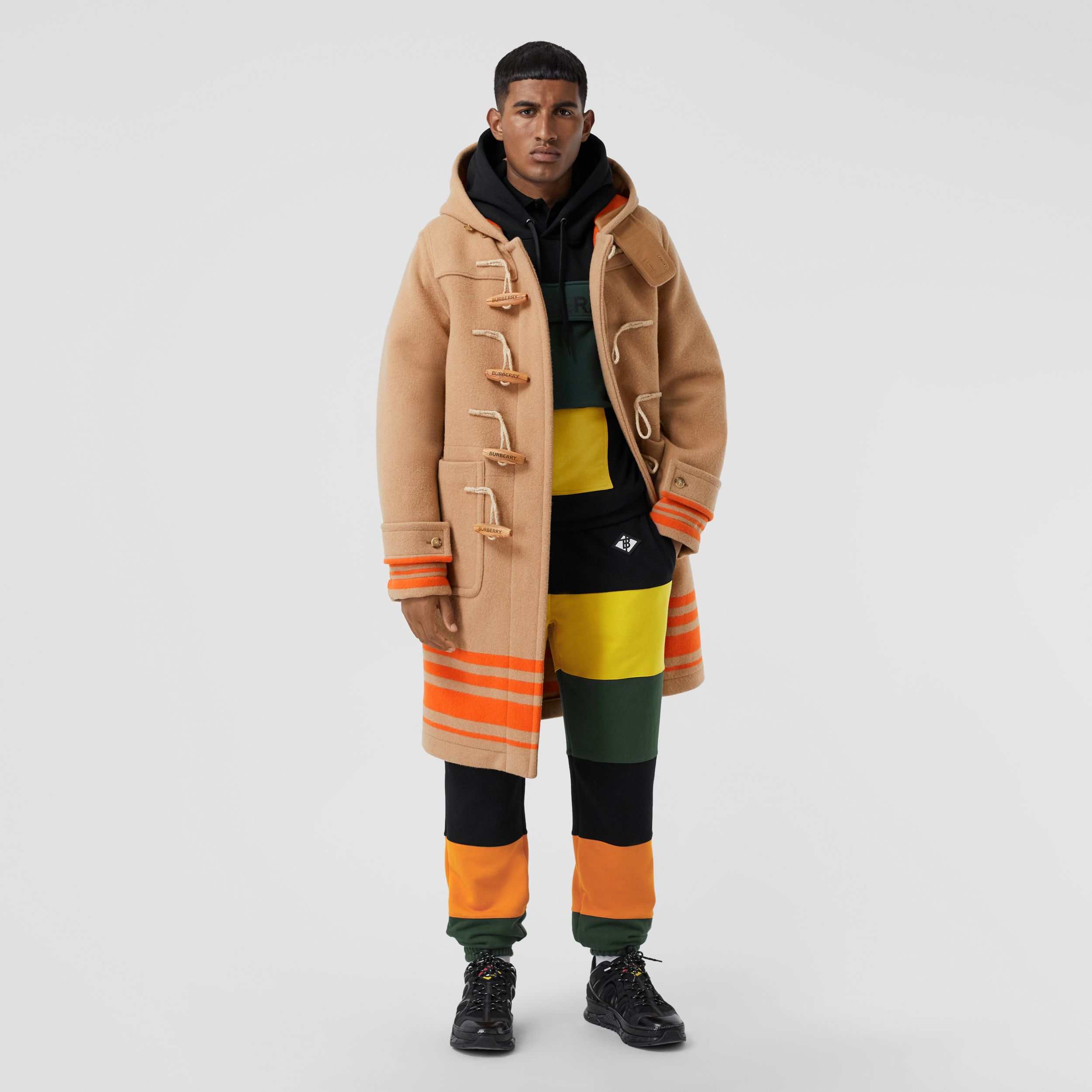 Logo Graphic Colour Block Cotton Trackpants in Canary Yellow - Men | Burberry - 1