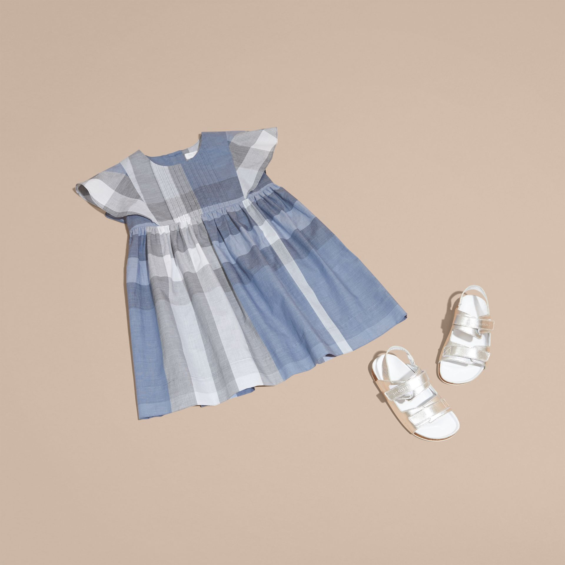 Ruffle Detail Check Cotton Dress in Canvas Blue - Girl | Burberry - gallery image 5