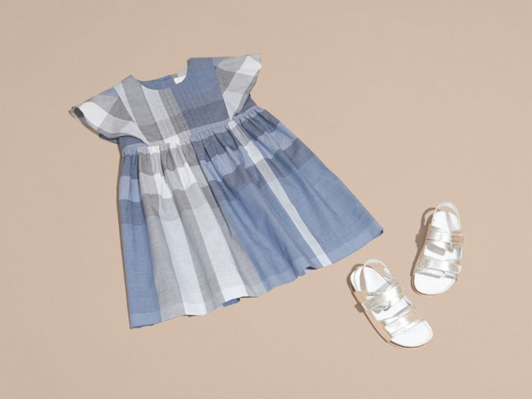 Ruffle Detail Check Cotton Dress in Canvas Blue - Girl | Burberry Australia - cell image 4