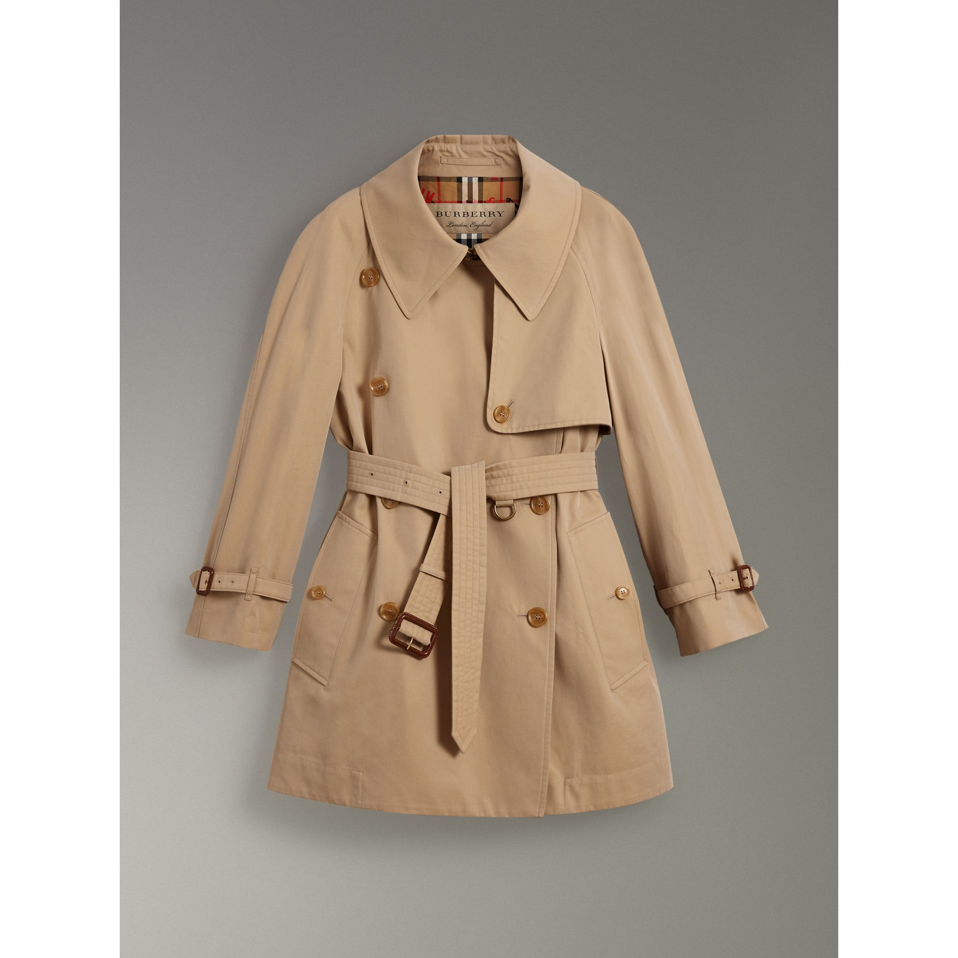 Exaggerated Collar Cotton Gabardine Trench Coat in Honey - Women | Burberry - gallery image 3