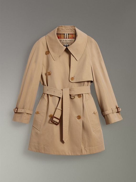 Exaggerated Collar Cotton Gabardine Trench Coat in Honey - Women | Burberry - cell image 3