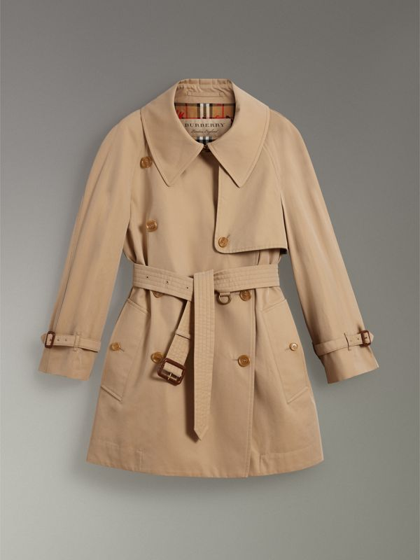 Exaggerated Collar Cotton Gabardine Trench Coat in Honey - Women | Burberry United Kingdom - cell image 3