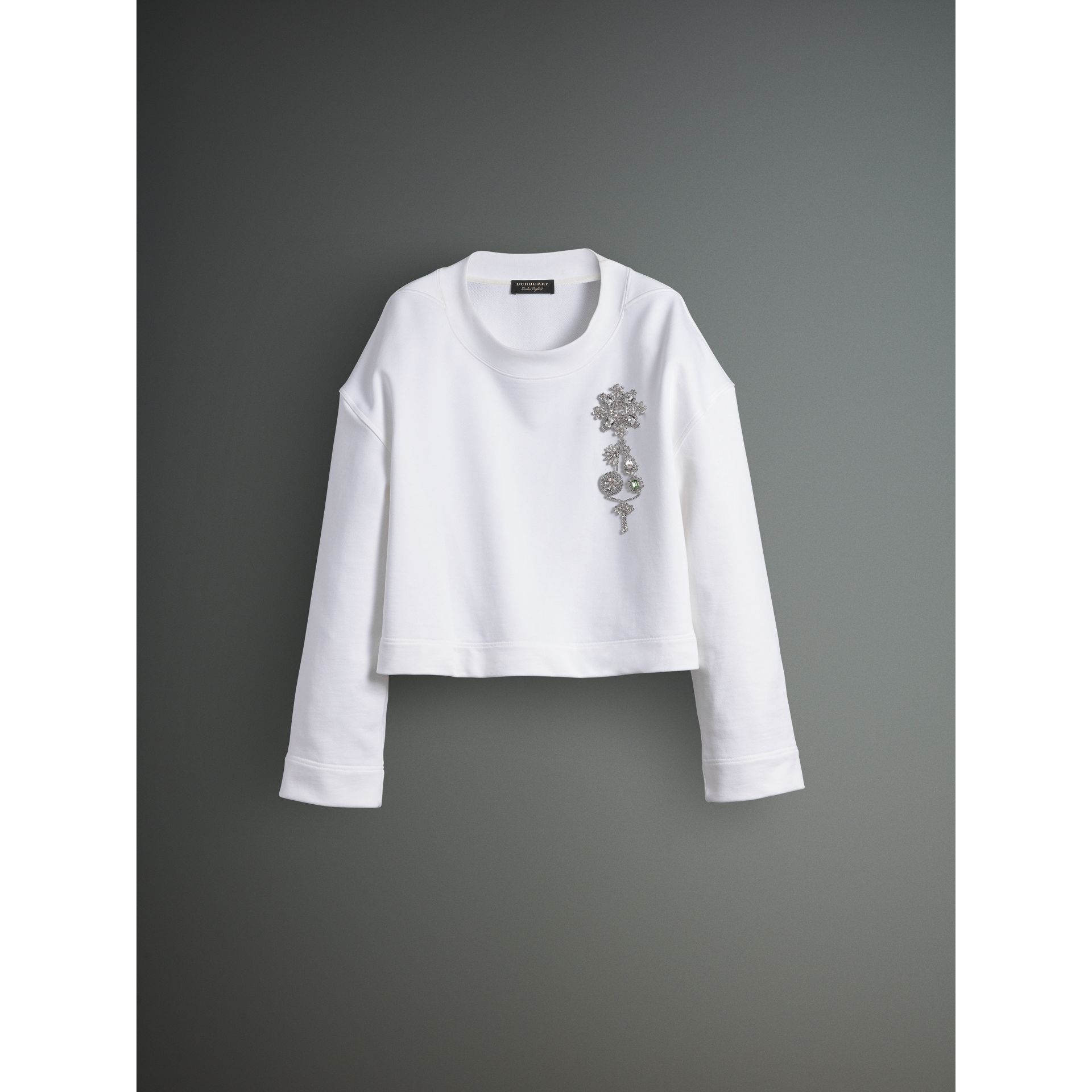 Cotton Cropped Sweatshirt with Crystal Brooch in Optic White - Men | Burberry Australia - gallery image 3
