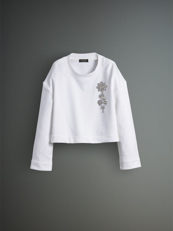 Cotton Cropped Sweatshirt with Crystal Brooch in Optic White - Men | Burberry Australia - cell image 3