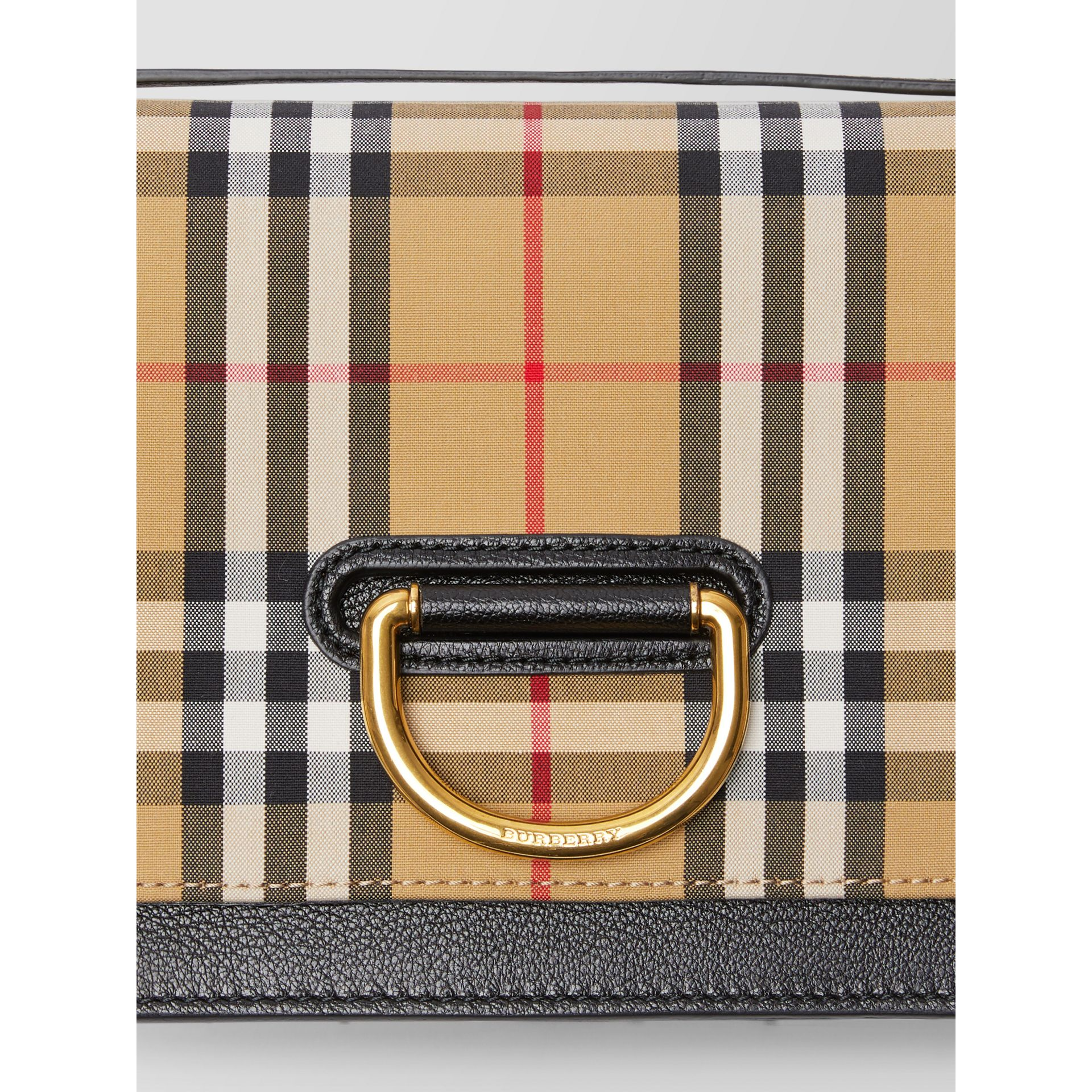 The Small Vintage Check And Leather D-ring Bag in Black/antique Yellow - Women | Burberry United Kingdom - gallery image 1