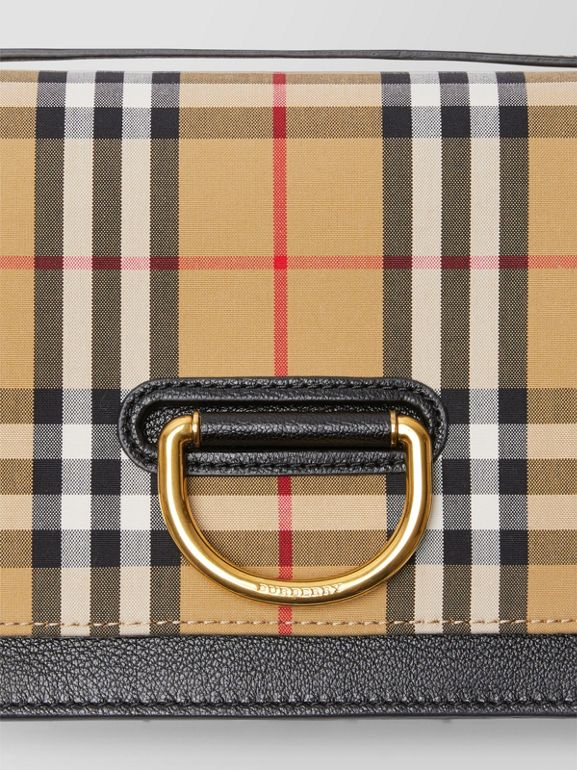 The Small Vintage Check And Leather D-ring Bag in Black/antique Yellow - Women | Burberry United Kingdom - cell image 1