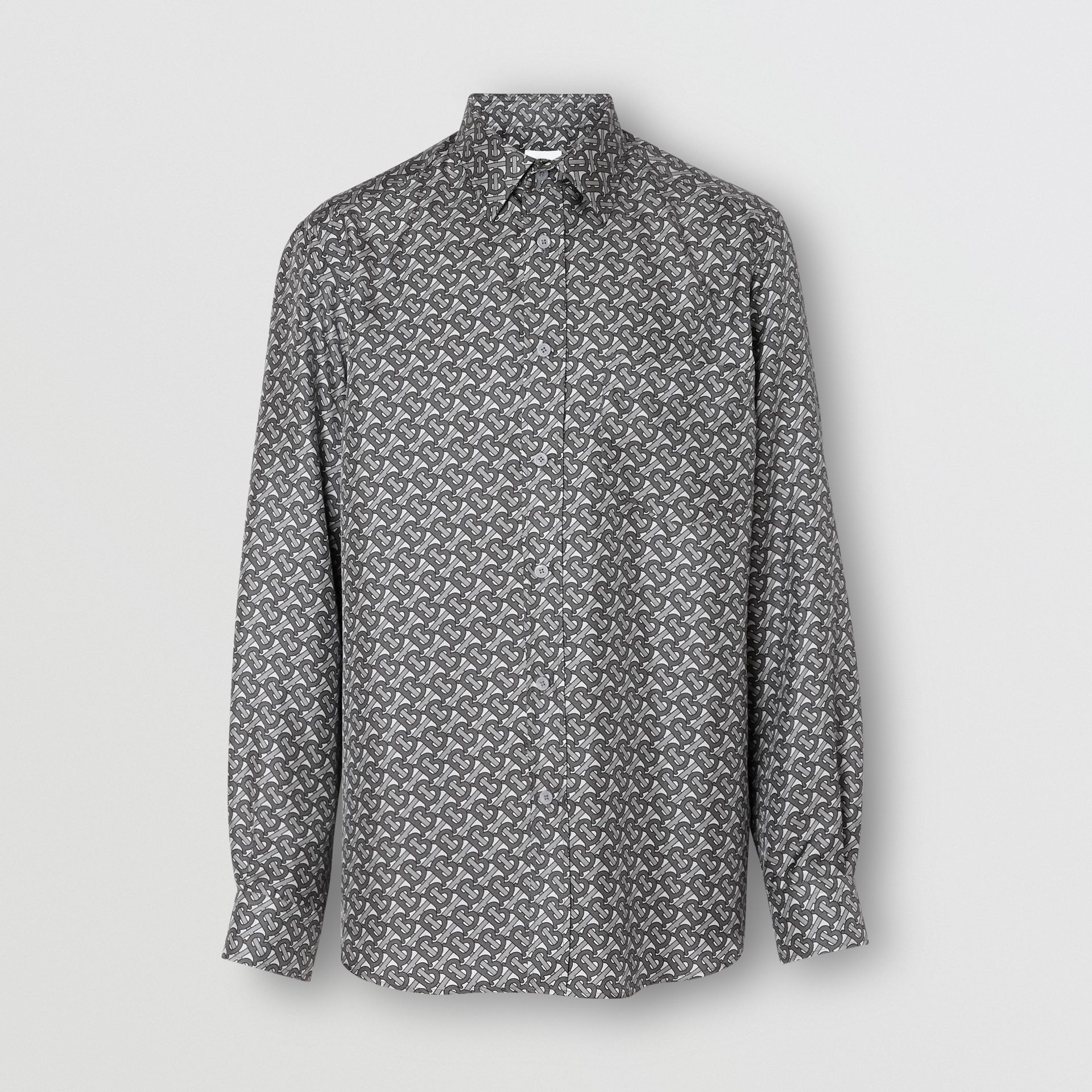 Classic Fit Monogram Print Silk Twill Shirt in Mid Grey - Men | Burberry - gallery image 3