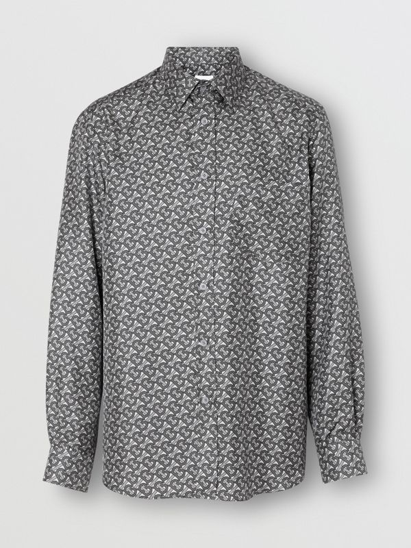 Classic Fit Monogram Print Silk Twill Shirt in Mid Grey - Men | Burberry United States - cell image 3